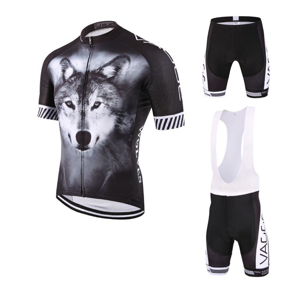WOLF full sublimation new design cycling apparel/summer breathable black cycling clothing/quick dry compression bike uniform kit