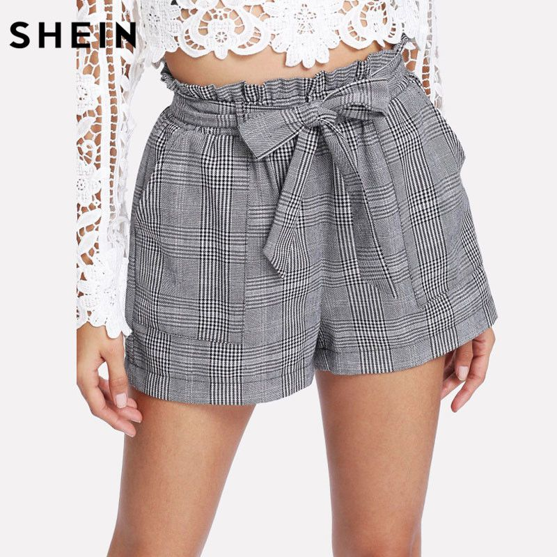 SHEIN Grey Woman Shorts Spring Summer Straight Leg Bottom Mid Waist Casual <font><b>Self</b></font> Belted Plaid Hot Knot Pocket Shorts
