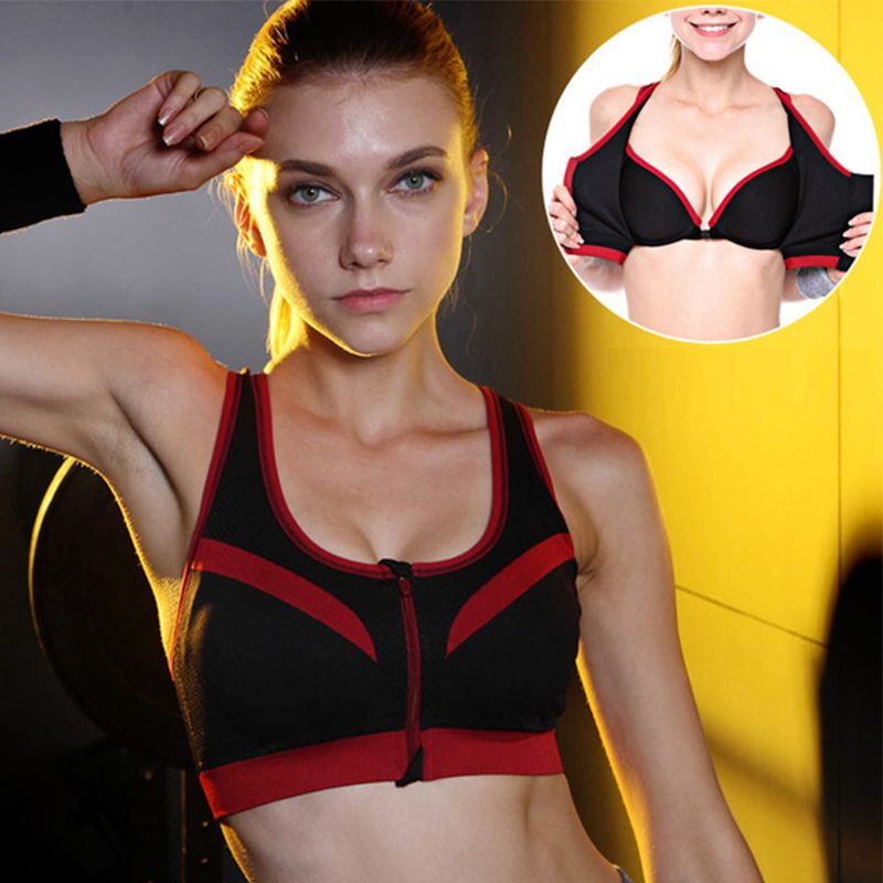 Binand Sexy Double Layer High-Impact Push Up Sports Fitness Bra For Yoga Running Front Zipper-Style Crop Top shirts