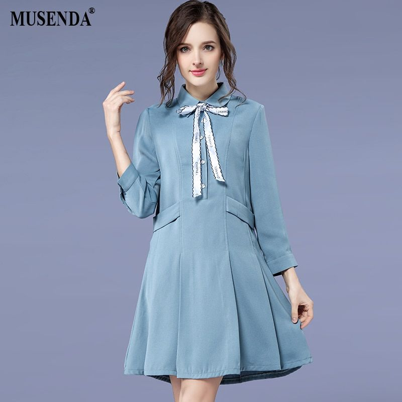 MUSENDA Plus Size Women Blue Bow Turn Down Collar Tunic Dress 2018 Spring Female Lady Sweet Dresses Vestido Robe Clothing 5XL