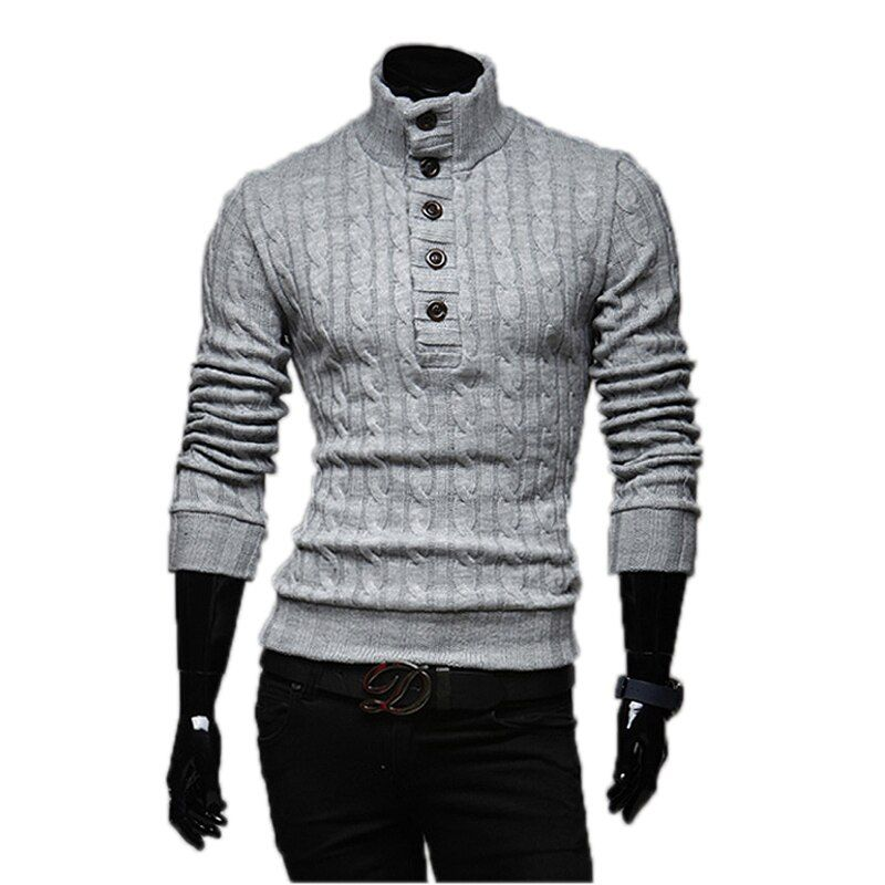 Mens Sweaters 2017 New Men Fashion Winter Coat Long-Sleeved Sweater Male Jacket Casual Sweater High Collar Men Sweater Size XXL