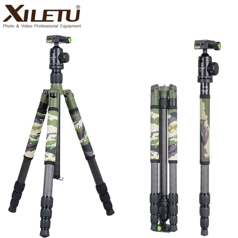 Xiletu T284C + FB1 Vert Camouflage Caché trépied en fibre De Carbone Cachés Pour Voyage En Plein Air Chasse Tir DSLR appareil photo numérique