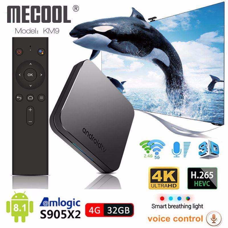 Mecool KM9 Android 8.1 Smart TV Box S905X2 4GB DDR4 RAM 32GB ROM 2.4G/5G WiFi BT 4.1 Voice Control Set Top Box 4K Media Player