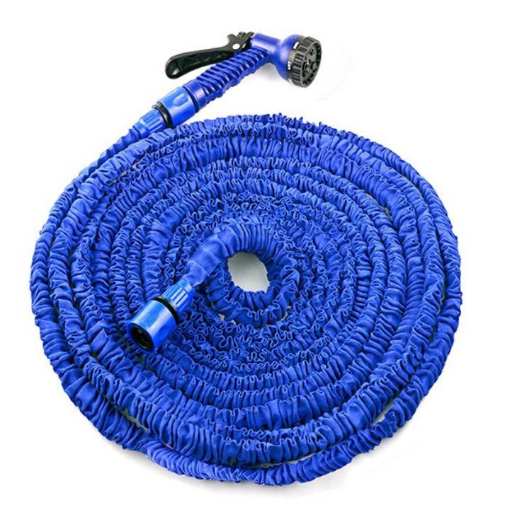 Bleu 100FT extensible magique Flexible tuyau eau pour jardin voiture tuyau tuyaux en plastique à arroser avec pistolet