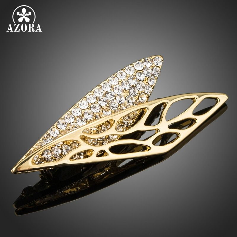 AZORA Brand Wing Brooch Pin Gold Color Wedding Jewelry Women Large Rhinestone Crystal Fashion Leaf  Brooch and Pins TP0052