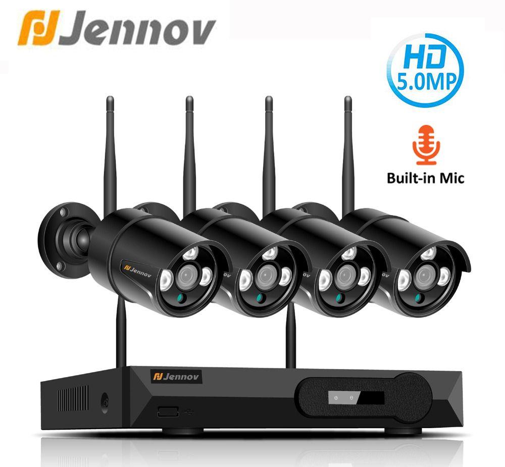 Jennov H.265 5.0MP 4CH Home Security Drahtlose Kamera CCTV Set Überwachung Kamera WIFI NVR Drahtlose Ip-kamera Im Freien IR- cu
