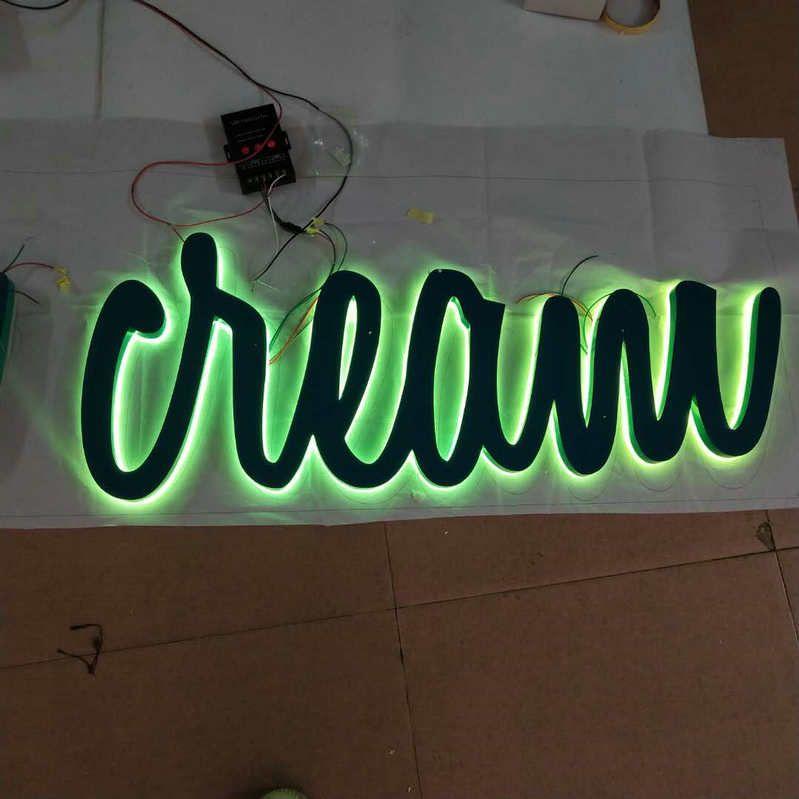 Außen Benutzerdefinierte fernbedienung RGB Beleuchtung 3D shop name schild zurück lit buchstaben signage