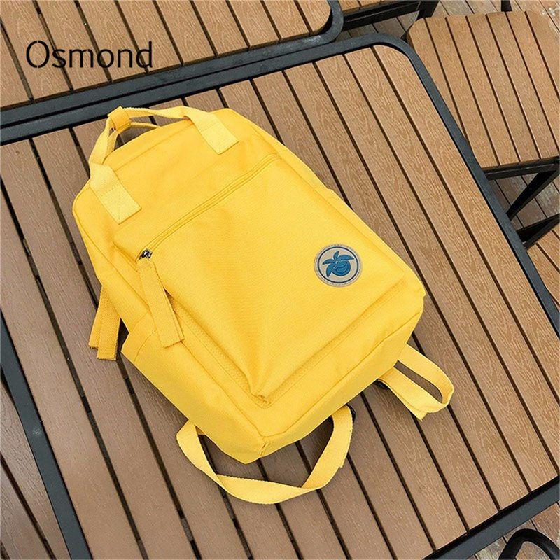 Osmond 2018 femmes jaune dos Packs féminin toile sac à dos pour adolescente filles décontracté voyage Mochila cartable sacs d'école femme