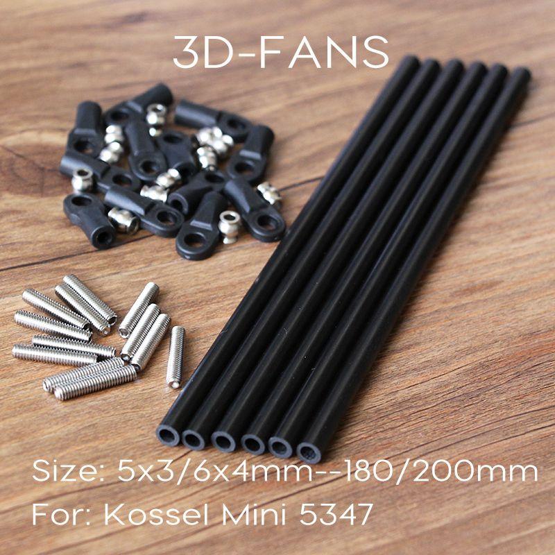 Delta Kossel 3D Printer M3/M4 180/200MM Length Parallel Arm Fisheye Carbon Rod K800 Mini 5347 Upgrade Diagonal Push Rods