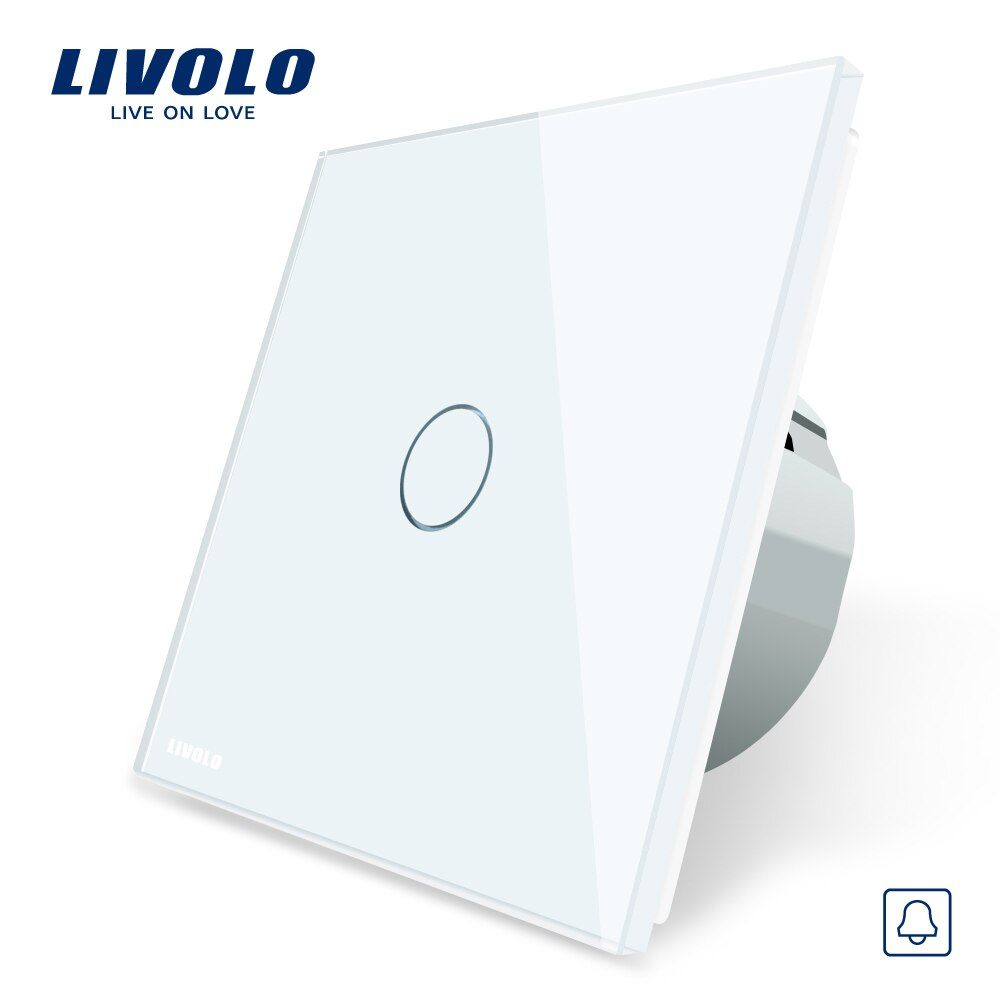 Livolo EU Standard, Door Bell Switch, Crystal <font><b>Glass</b></font> Switch Panel, 220~250V Touch Screen Door Bell Switch,VL-C701B-1/2/3/5