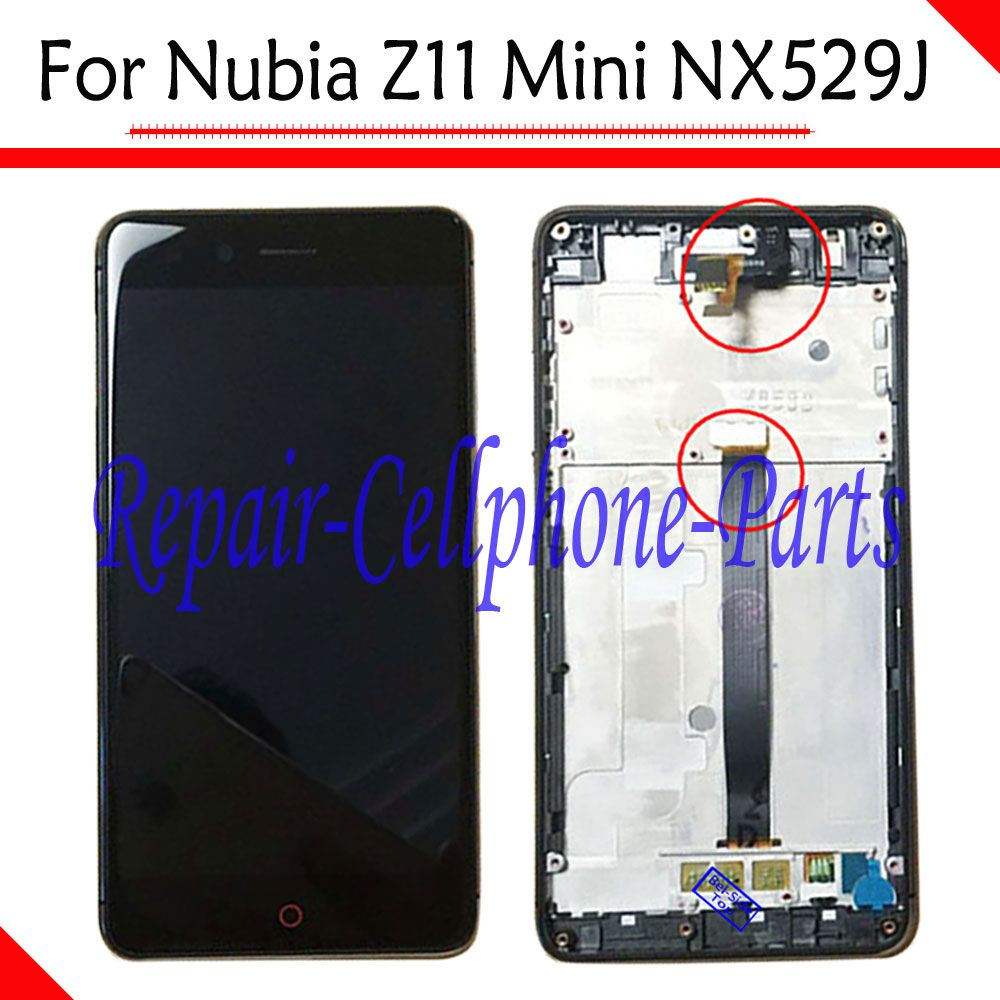 Black 100% New Frame Cover +Full LCD DIsplay +Touch Screen Digitizer Assembly For ZTE Nubia Z11 Mini TD-LTE NX529J Free Shipping