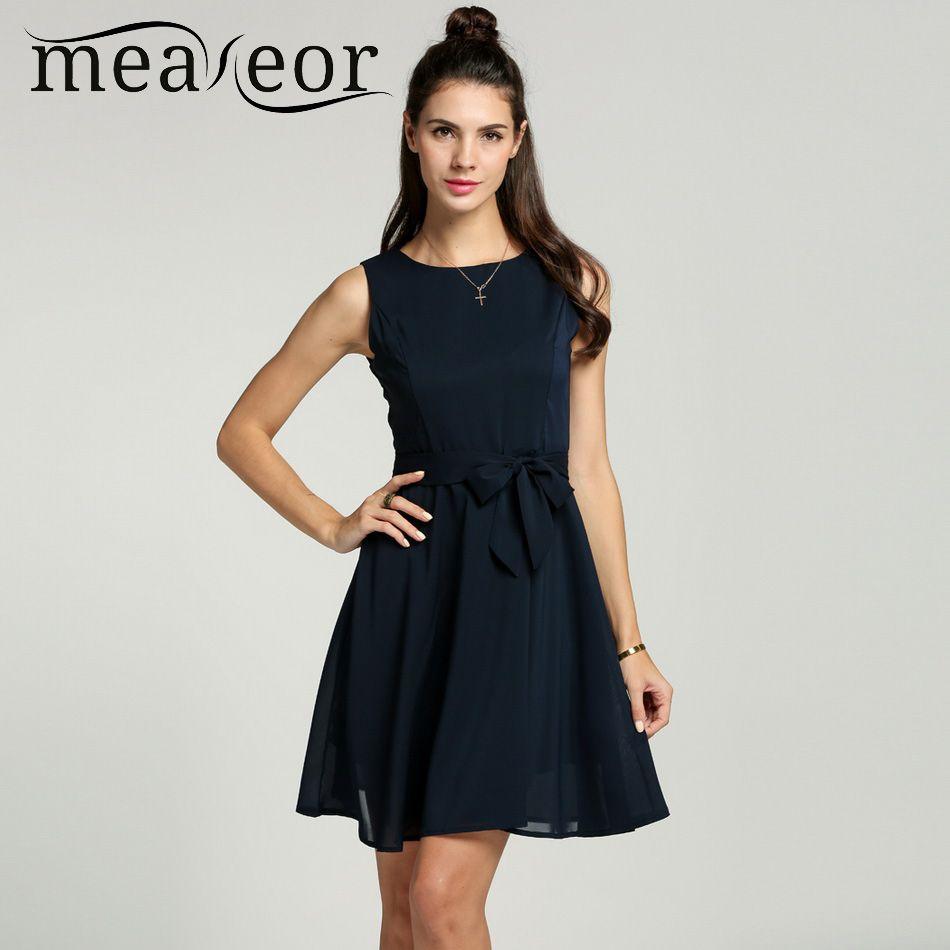 Meaneor Women Chiffon 13 Solid colors Summer Pretty Vestidos Famale <font><b>elegant</b></font> Pleated Dress Sleeveless Vest mini Dress With Belt