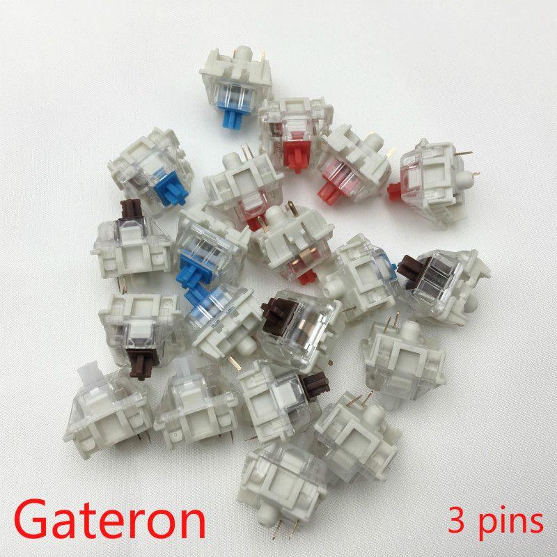 Gateron SMD commutateurs noir rouge marron bleu clair vert jaune 3 broches interrupteur pour clavier mécanique fit GK61GK64 GH60
