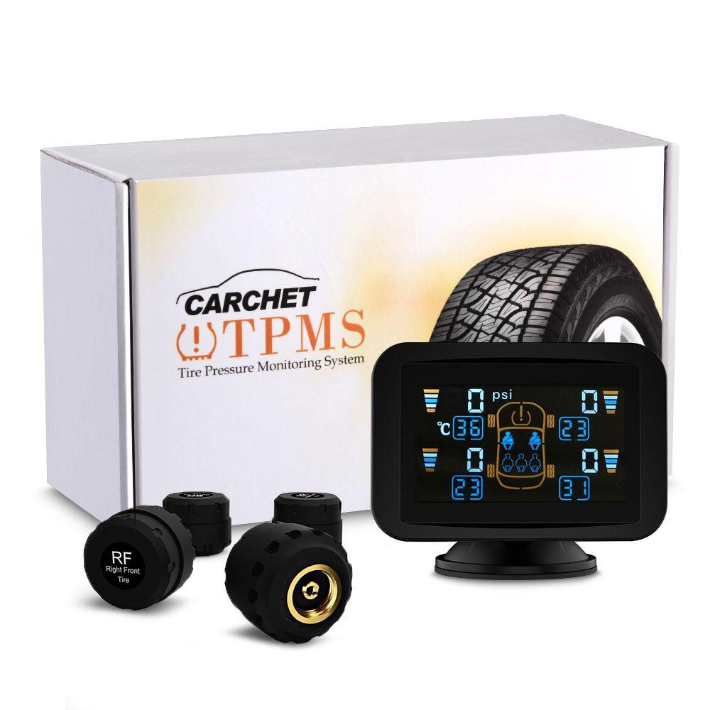 CARCHET 7M527C TPMS Reifendruckkontrollsystem Intelligente System + 4 Externe Sensoren mit LCD Sauger Druck Temperaturanzeige