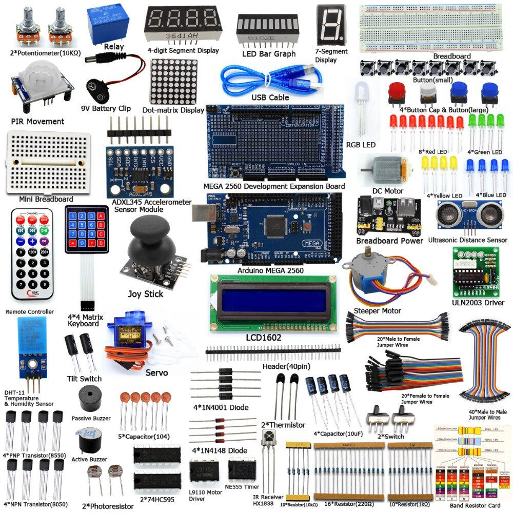 Adeept DIY Electric Ultimate Starter learning Kit for Arduino MEGA 2560 with Guidebook Motor Freeshipping Book diy diykit