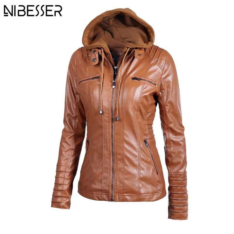 2017 Plus Size Hooded Faux Leather Jacket Women Autumn Winter Motorcycle Jacket Long Sleeve Hat Detachable PU Leather Slim Coat