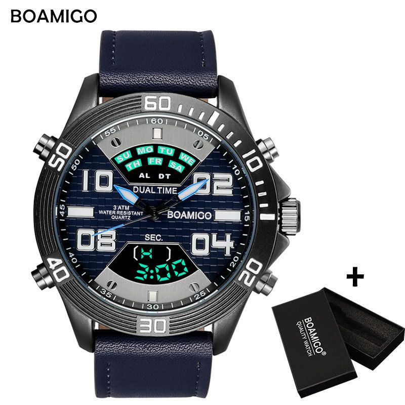 BOAMIGO Brand Watch Men Fashion Sports Watches Quartz Wristwatches LED Digital Display Auto Date Male Clock Relogio Masculino