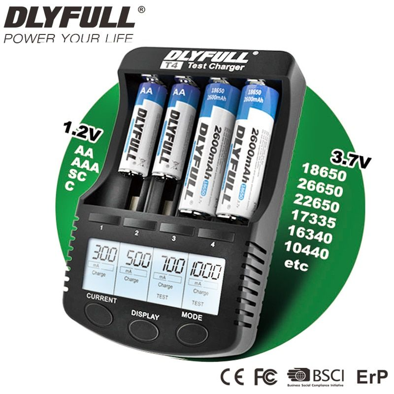 18650 Charger LCD <font><b>NiCD</b></font> NiMH Li-ion USB Battery Charger for AA AAA Intelligent Smart Universal Rechargeable Battery Charger EU