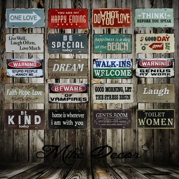 [ Mike86 ] Poem Quote Metal Painting decor Retro Gift Craft Metal sign Cafe Hall decoration FG-128 30*15 CM
