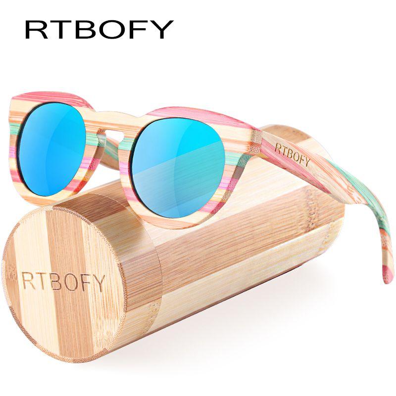 RTBOFY Wood Sunglasses Women Bamboo Frame Eyeglasses Polarized Lenses Glasses with Wood Box UV400 Protection Shades Eyewear