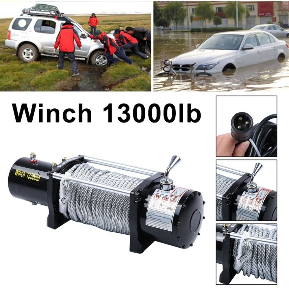 (Ship From DE)12V Electrical Winch Wire Rope Capacity Up To 13000 Pound With Remote Control Cars Off-Road Engines Lift Winch