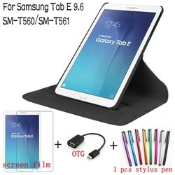 4 in 1 mode 360 gelar rotating kulit cover untuk samsung galaxy tab e 9.6 t560 t561 tablet kasus + screen protector + otg + pena
