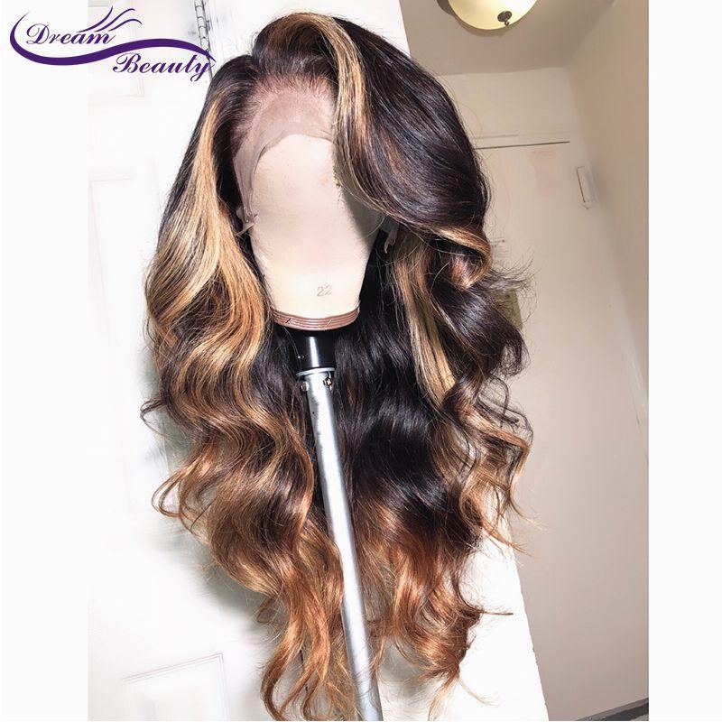 13x6 partie profonde dentelle avant cheveux humains perruques vague de corps 180% densité brésilienne Non-Remy cheveux humains pré-plumé Hairline Dream Beauty