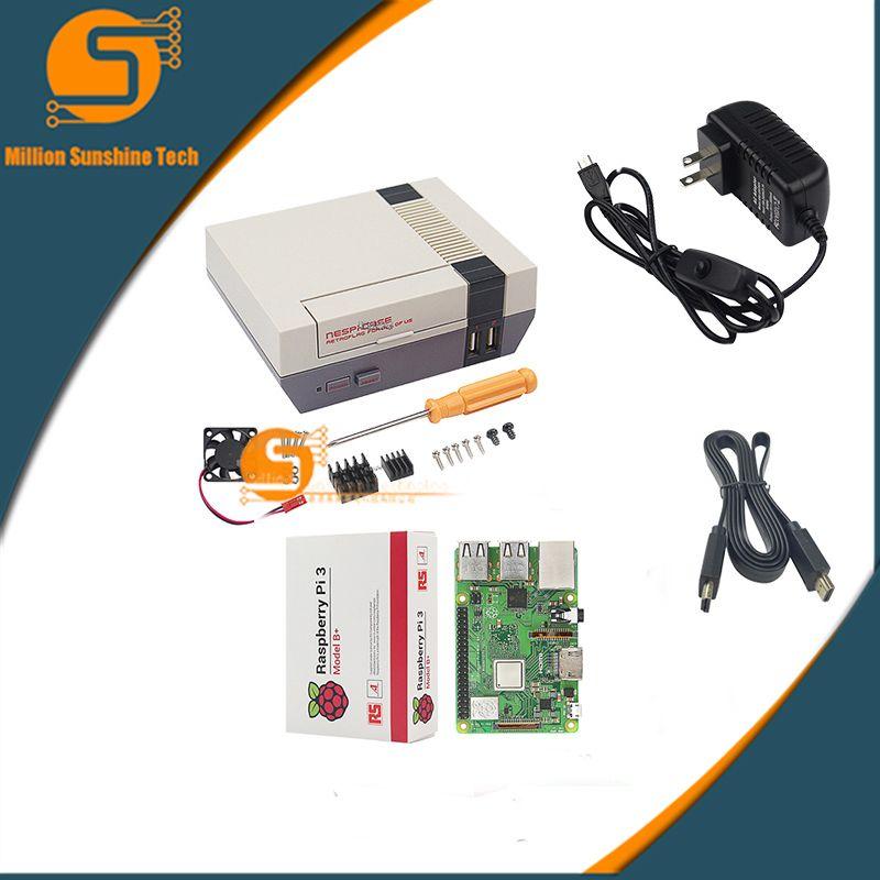 Raspberry Pi 3 NESPi Case Box+Raspberry Pi 3B+/3B + Fan+5V 3A Power+HDMI cable free shipping