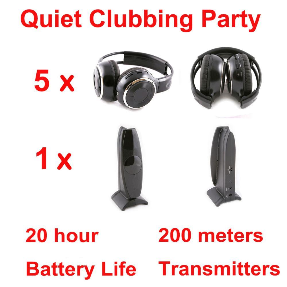 Silent Disco complete system black folding wireless headphones - Quiet Clubbing Party Bundle (5 Headphones + 1 Transmitter)