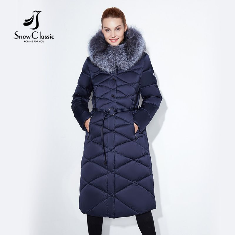 Women winter coat jacket women warm thick parka fox fur collar outwear fashion luxury big size 5xl X-Long Slim Solid SnowClassic
