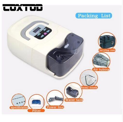 COXTOD Heimgebrauch Tragbare CPAP Maschine Atemschutzmaske für Schlafapnoe OSAHS OSAS Schnarchen Menschen W/Nasenmaske, kopfbedeckungen, rohr, tasche