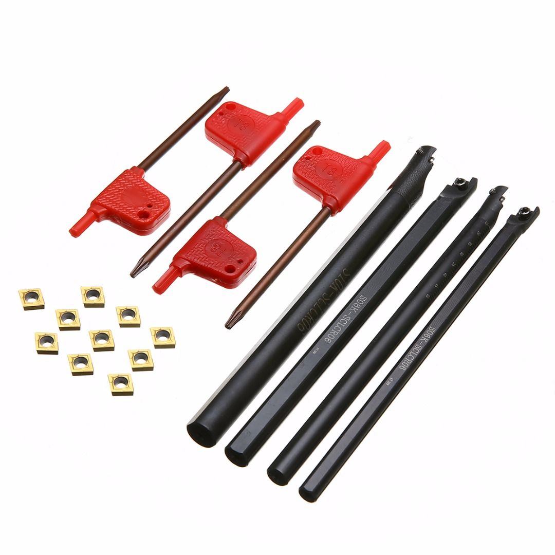 4pcs 6/7/8/10mm SCLCR06 Turning Tool Holder Boring Bar +10pcs CCMT060204 Carbide Inserts With Wrench