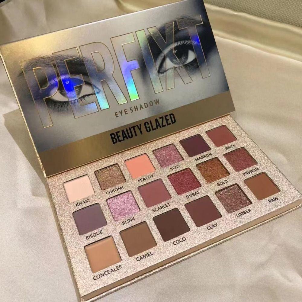 Beauty Glazed 18 Color Nude Shining Eyeshadow Palette Makeup Glitter Pigment Smoky Eye Shadow Pallete Waterproof Cosmetics