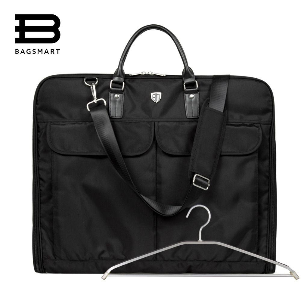 BAGSMART 2018 Waterproof Black Nylon Garment Bag With Handle Lightweight Suit Bag Business Men Travel Bags For Suits