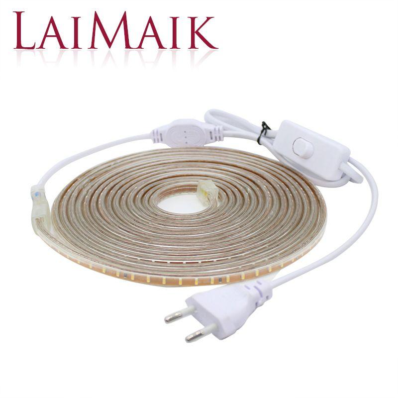 LAIMAIK LED Lights Bande Imperméable À L'eau avec ON/OFF commutateur AC220V Flexible Led Bande 120 leds/M SMD3014 LED bande Lumières pour la Cuisine