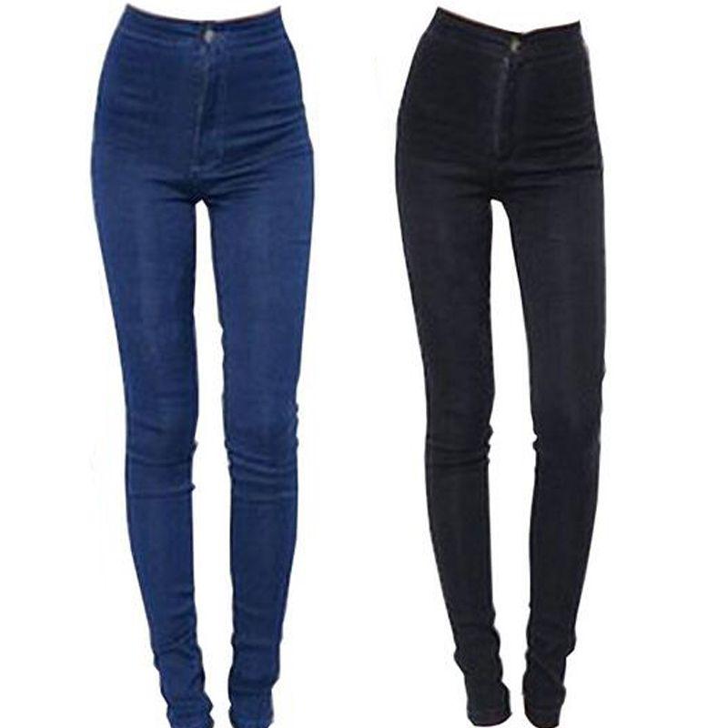 2019 nouveau mode Jeans femmes crayon pantalon taille haute Jeans Sexy Slim élastique Skinny pantalon pantalon Fit dame Jeans grande taille