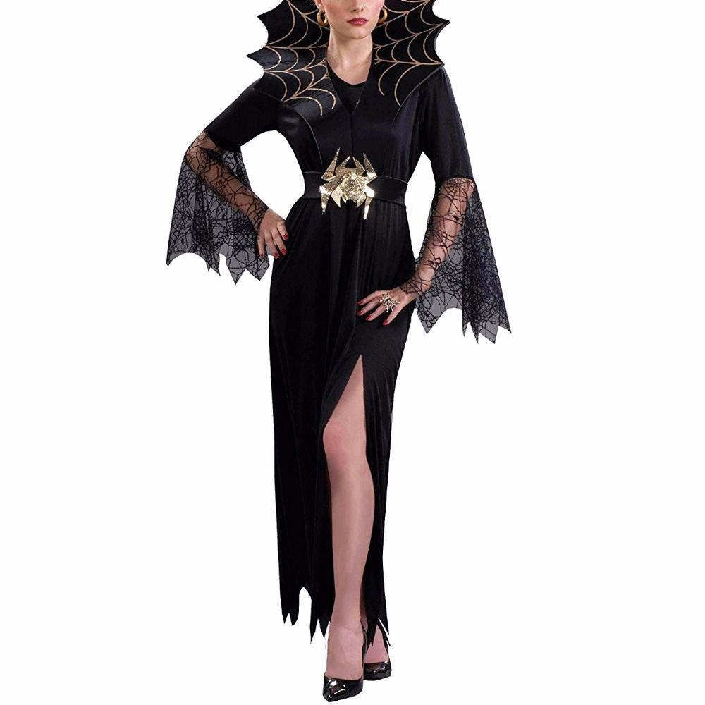 Femmes Vampire Costume Fille Sorcière Robe Adulte Gothique Foncé Reine Cosplay Toile D'araignée Araignée Fantaisie Robe pour Carnaval Halloween Costume