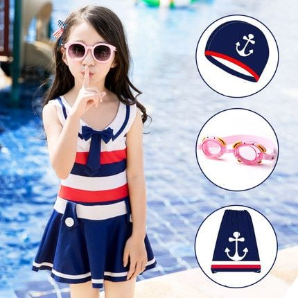 One Piece Children Swimwear Kids Swimsuit Girls Navy Skirt Dress With Underwear Cover Up Stripe Cute Bowknot Beach Bathing Suits
