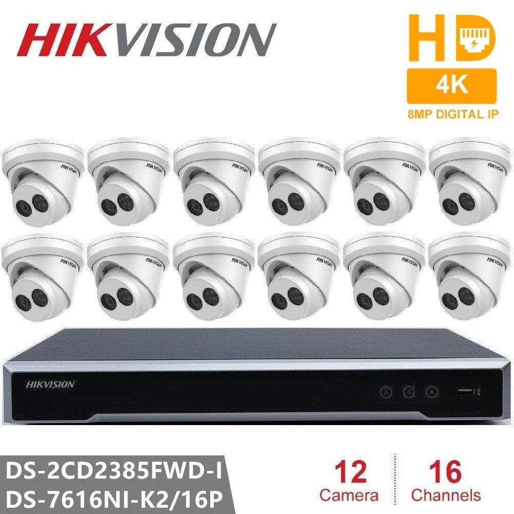 Hikvision CCTV Video Überwachung System Eingebettet Plug & Play NVR 4 K 2 SATA 16CH 16POE & DS-2CD2385FWD-I H.265 8MP IP Kamera POE