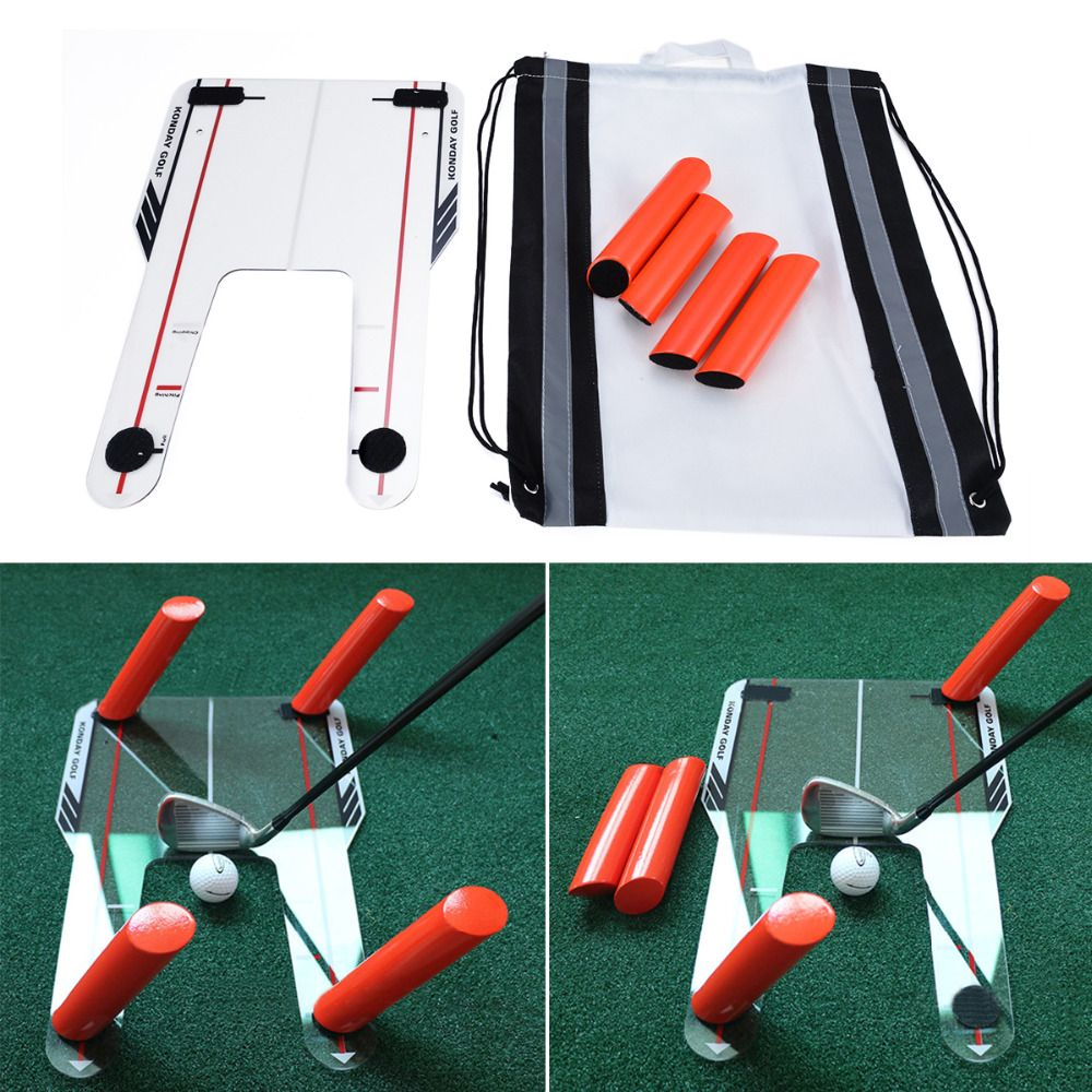 Mayitr Golf Putting Mirror Alignment Training Aid Swing Practice Trainer Speed Trap Base & 4 Speed Rod Golf Accessories
