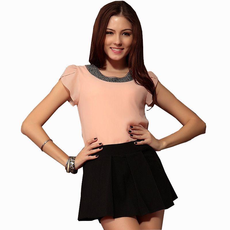 Nouveau 2018 chemise à manches hauts mode Blusas Femininas Blouse perles élégant Blouse brève en mousseline de soie Blouse chemise femmes haut