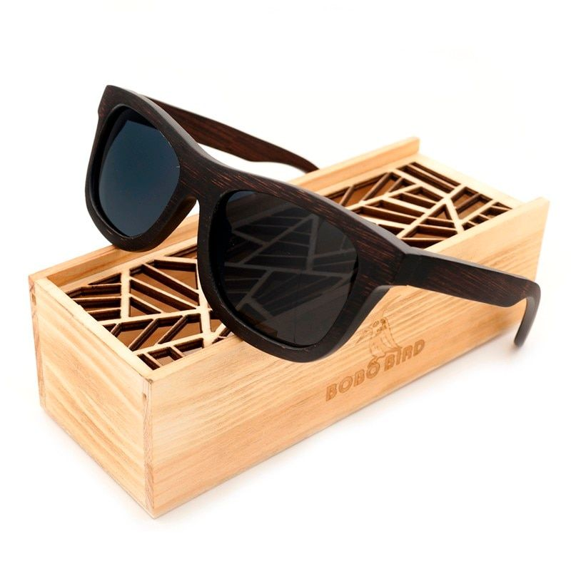 100% Natural Ebony Wooden Sunglasses Men's Luxury Brand Design Square Polarized Sun Glasses With Wooden Gift Box