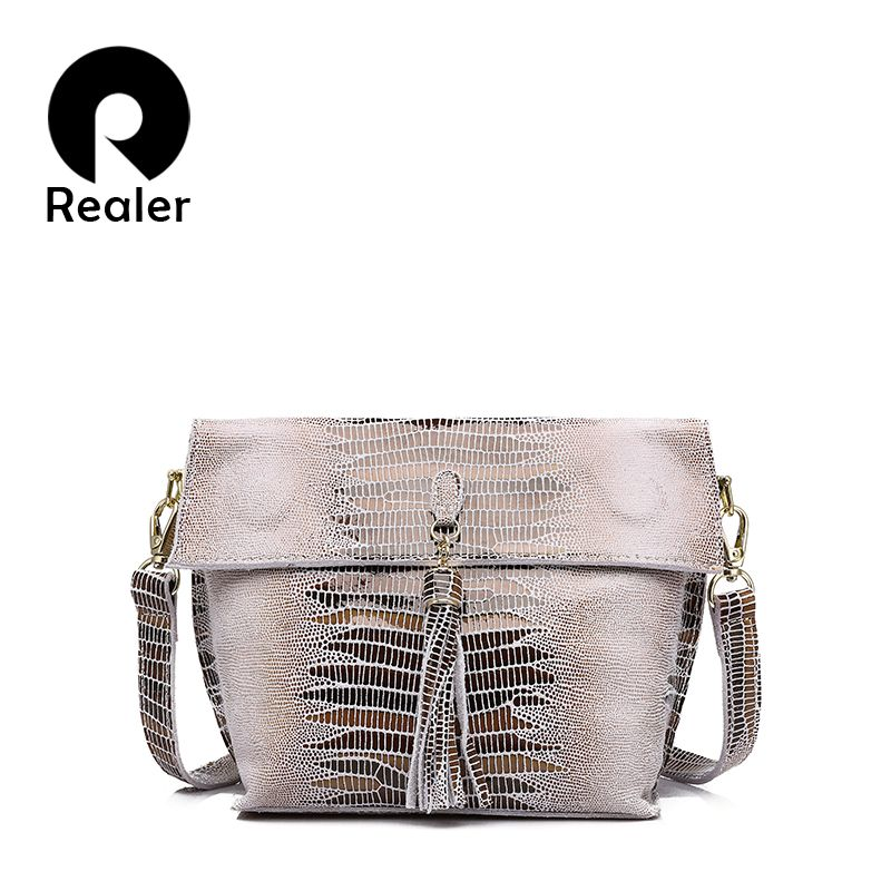 REALER women shoulder messenger bags <font><b>genuine</b></font> leather crossbody bag ladies small handbags with tassel female leather bag purse