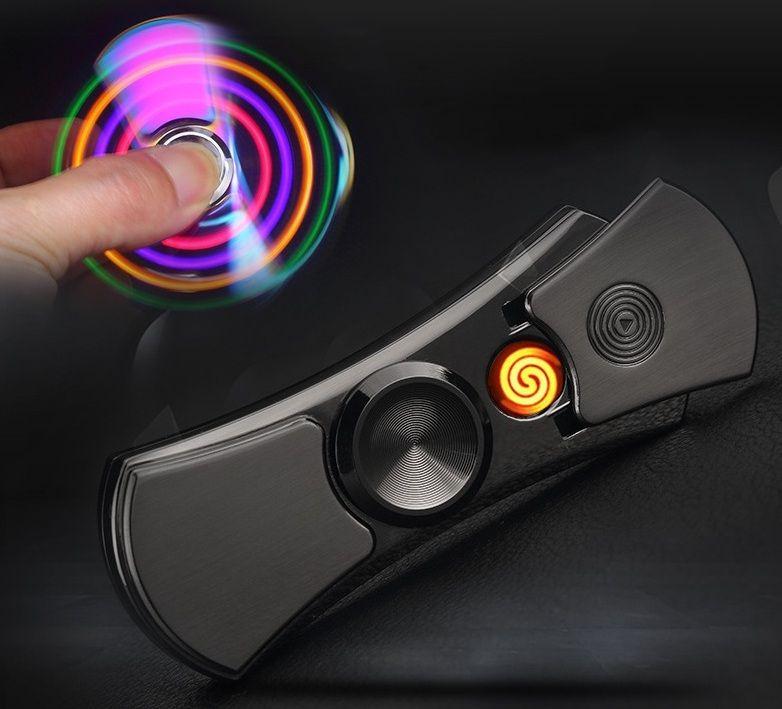 YOUNAN Du Bout Des Doigts Gyroscope Léger USB Charge Briquets Coupe-Vent Électronique Allume-cigare Hommes Cadeau Avec Box-7001