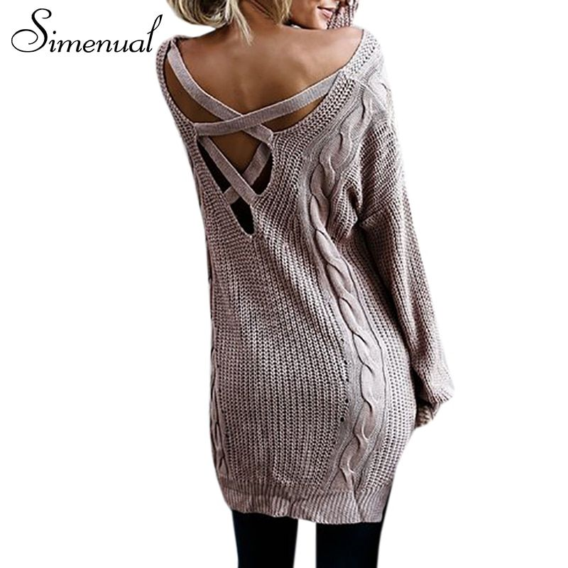 Simenual сзади на шнуровке женские свитера и пуловеры на осень-зиму твист длинный пуловер Женские повседневные V шеи сексуальные трикотажные дж...