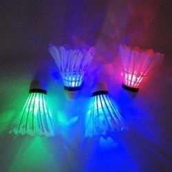 Practical 4 PCs Colorful LED Badminton Shuttlecock Ball Feather Glow in Night Outdoor Entertainment Sport Accessories