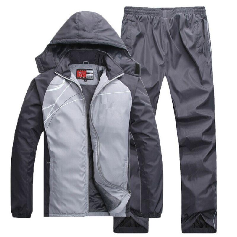 Thermal Sport Suit Men Sportswear Set Fleece Lining Winter Outdoor Workout Sportsuit Man Keep Warm Running Jogging Suits Male