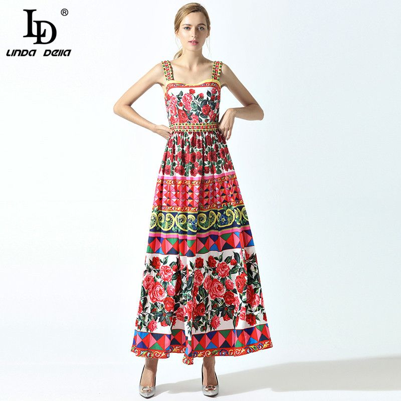 High Quality 2017 Summer New Runway Maxi Dress Women's Spaghetti Strap Cute Charming Rose Flower Floral Print Beading Long Dress