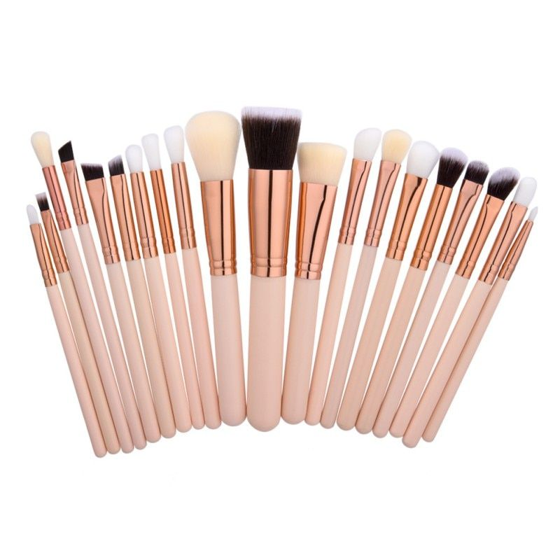 20Pcs Rose Gold Makeup Brushes Set Natural Wood Professional Cosmetic Brush Tools Powder Eyeshadow Make Up Brush Kits D2