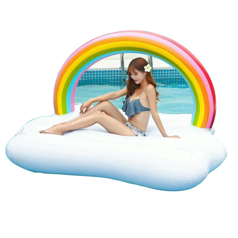 YUYU 195cm Gaint Rainbow Pool float Inflatable Swimming Float Rainbow for Adult Tube Raft Swimming Ring Summer Water fun